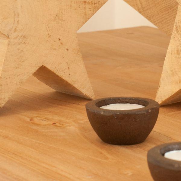Teelichthalter antik-braun