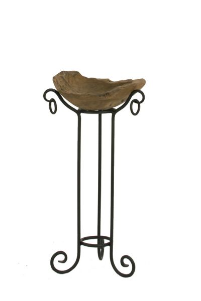 Pflanzsäule Nizza mit Holzschale aus Teak-Wurzel rustikal